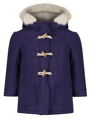 Ex M&S Girls Duffel Coat Wool Mix Toggles Hooded Jacket Cream Fur Age 1-7 Years