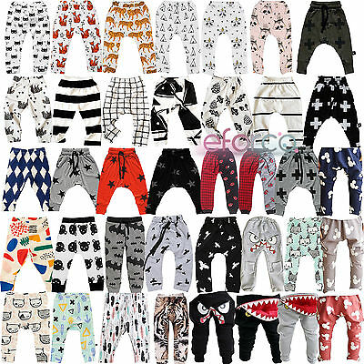 Baby Kids Boys Girls Harem Pants Trousers Toddler Jogging Bottoms Sweatpants
