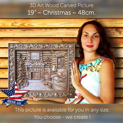 """19""""/48cm❤️️Christmas✅Carved wood 3D Artwork picture icon painting panel"""