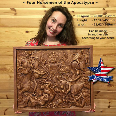 """28""""❤️Four Horsemen of the Apocalypse✅Carved Wood 3D bible  icon orthodox picture"""