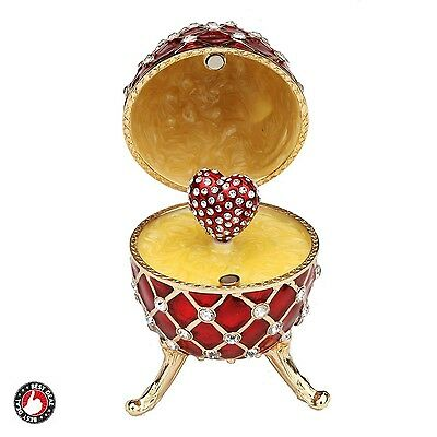 Swarovski Faberge Egg Red Gold Trinket Box Engagement Ring Stand Wedding Display