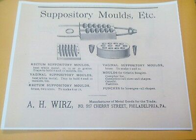 1892 Wirz Co. Philadelphia PA. Brass Rectum Vaginal Suppository Molds Ad Poster