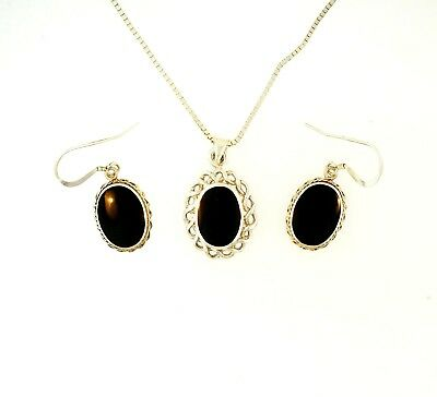 "Sterling Silver Onyx Earring and Pendant Set w/ 17.75"" Box Link Chain (1mm Wide)"