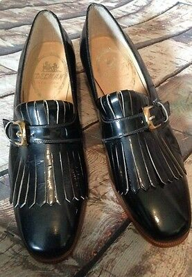 Vintage black patent leather heels Delman shoes Loafers  EUC Size 6 Narrow