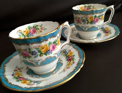 Pair of Antique (1906) Crown Staffordshire English Bone China Cups & Saucers