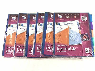 NEW Avery - 5 Tab Insertable Two-Pocket Plastic Dividers,  # 11297 6 Packages