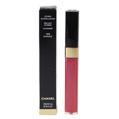 Chanel Levres Scintillantes Glossimer Pink Red Glitter Lip Gloss 106 Myriade