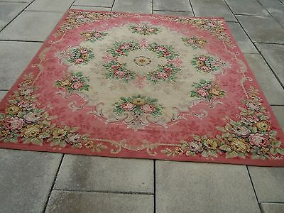 BEST French Chateau Aubusson Floral Barkcloth Wool Rug~Gorgeous PINKS!