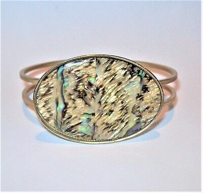 Vtg Abalone Shell Big Oval Panel Bracelet Clamper Pin Hinged Cuff South Western