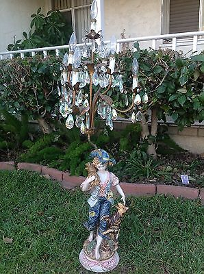"""Vintage Capodimonte Crystal Lamp Woman With A Dog  49"""" Tall"""
