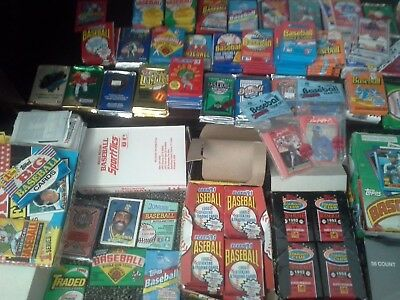 Huge Lot Of 1000 Old Unopened Baseball Cards In Packs!!!! Free Shipping!!!!