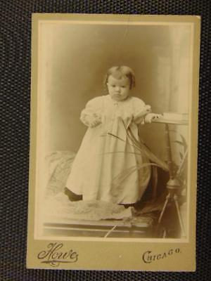 Antique Victorian Photo Cute Baby w Curly Locks Chicago, Illinois Cabinet Photo