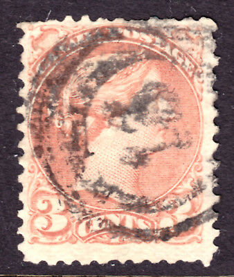 CANADA #37a 3c ROSE, 1870 SMALL QUEEN, F, 2-RING13