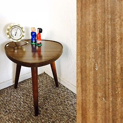 Atomic Mid Century Plant Stand Table Display Side End Table Tripod Vintage Brown