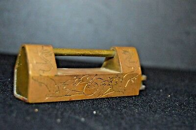Antique Vintage Chinese Brass Padlock & Key w/Engraved Dragon Design