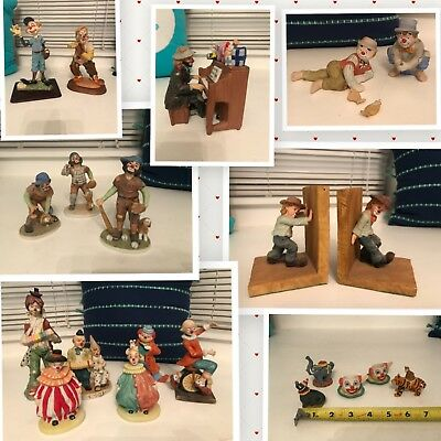 Emmett Kelly - Lot of 15+ Clown Figurines - Hobo Circus Porcelain collection