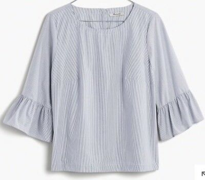 c24c5c60028 NEW MADEWELL For JCREW striped bell-sleeve top SizeXXS G1368 SP17 In  Blue white