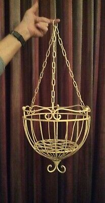Shabby Chic Ornate Wrought Iron Style Hanging Planter Victorian Vintage Garden