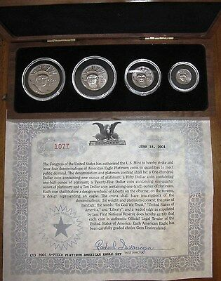 2001 Platinum American Eagle 4-Coin Proof set w/ COA & Wooden Box