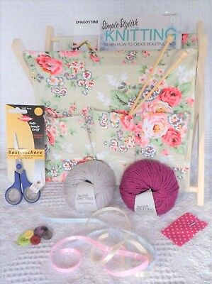 KNITTING KIT Beginners children Adults LEARN TO KNIT Bag Needles WOOL PATTERNS
