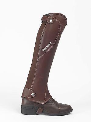 NEW Brogini Milano Adults Leather Gaiters, Half Chaps, Large, Brown