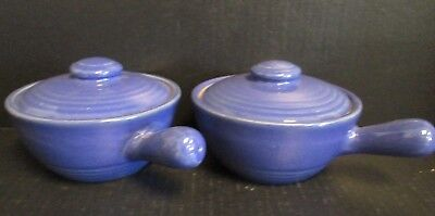TWO Covered Soup Bowls Set MidCentury McCoy USA Pottery in Blue w/ Lid & Handles