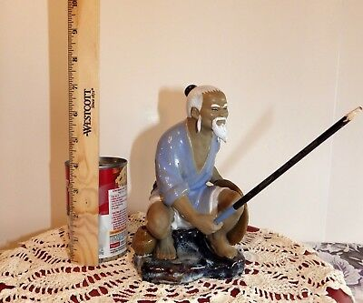 VINTAGE SHIWAN Ceramic Glazed Art Pottery Chinese Figurine Mud Man with Hat 2