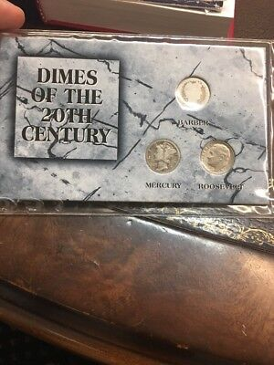 Dimes of the 20th Century Mercury, Barber, Roosevelt Set