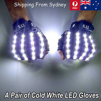 Handmade LED Gloves Cold White Party Costumes Super Star DJ Light Up Disco Glow