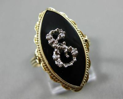 Antique Old Mine Diamond & Onyx 14Kt Two Tone Gold Swirl Marquise Ring #21458