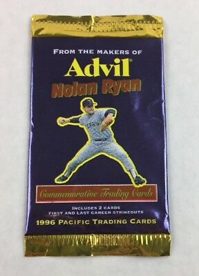 1996 Advil Nolan Ryan Unopened Pack 2 Pacific Trading Cards