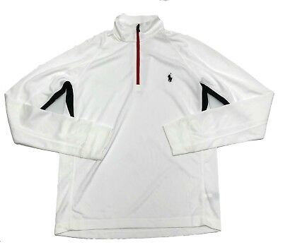Polo Ralph Lauren Men's White 1/4 Zip Perforated Athletic Pullover - Select size