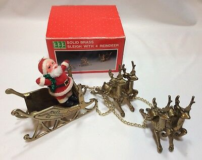 Vintage Solid Brass Sleigh With Four Reindeer Chains Christmas Santa Box Holiday