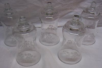Home Interiors / Homco Votive Cups - 5  Large Clear Etched Hummingbird Cups