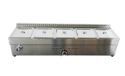 5- Pan Propane Gas Bain Marie Buffet Food Warmer 56inch Steam Table US