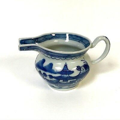 19th Century Chinese Export Canton Blue and White Small Creamer Dish
