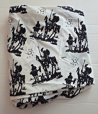 Vtg Don Quixote 1955 by Pablo Picasso Spadem Full Fitted Bed Sheet Bedding RARE!