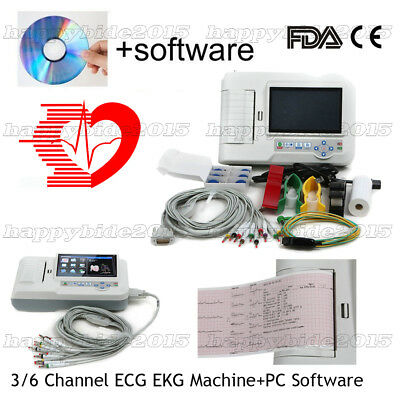 ECG600G Color Touchscreen 6 Channels 12 Leads ECG/EKG,Printer+Software