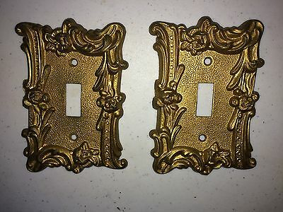 Pair of Vintage American Tack Brass Metal Wall Single Rectangle Switch Covers