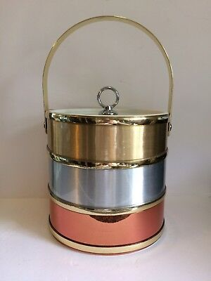 Gold Silver Copper Ice Bucket Shelton-Towle Hollywood Regency