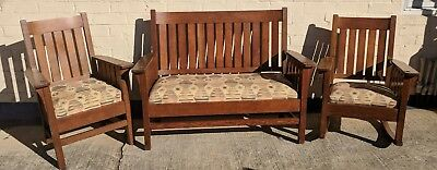 SALE! Antique Mission Oak Settle Bench with Chair & Rocker ~  Arts and Crafts