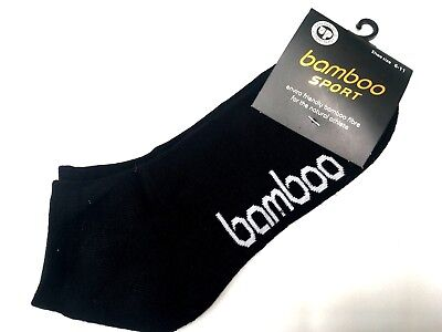 Mens Bamboo Sport Sports Ankle Socks Low cut Cushion Foot size 6-11 Black