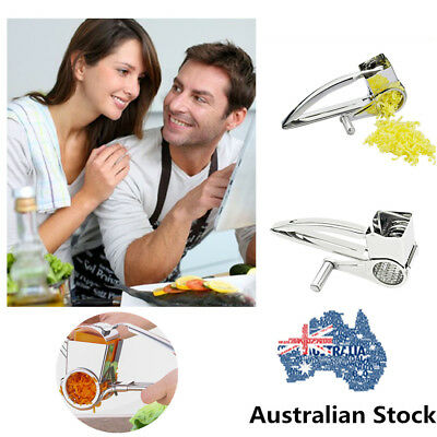 Cheese Rotary Grater Stainless Steel Barrel Drum Parmesan & 3 Drums Set Slicer
