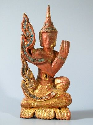 """5# Beautiful Antique Wood Carve """"the figure of deva"""" From Thailand Temple Look!!"""