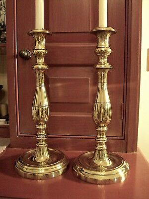 Philadelphia Brass Candlesticks (2) Late 18th-Early19thC likely made in France