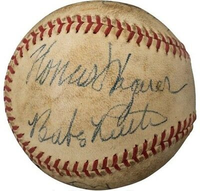 Babe Ruth Honus Wagner Multi HOF Signed Baseball PSA / DNA JSA NM MT MINT + Auto