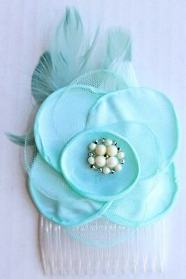 """Girl's Hairpiece Flower Accessory 3 1/2"""" x 5"""" Shabby Chic Mint Dance Pageant"""