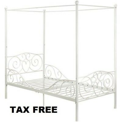 PRINCESS BED FRAME Twin Canopy Furniture White Metal Girls Bedroom ...