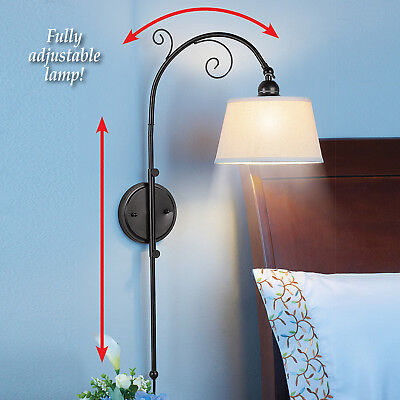 Adjustable Black Swing Arm Wall Lamp w/ White Shade Lighting Vintage Home Decor