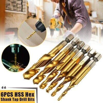 6PCS M3-M10 HSS Drill Bit 1/4''Hex Shank Thread Spiral Screw TapTitanium Coated